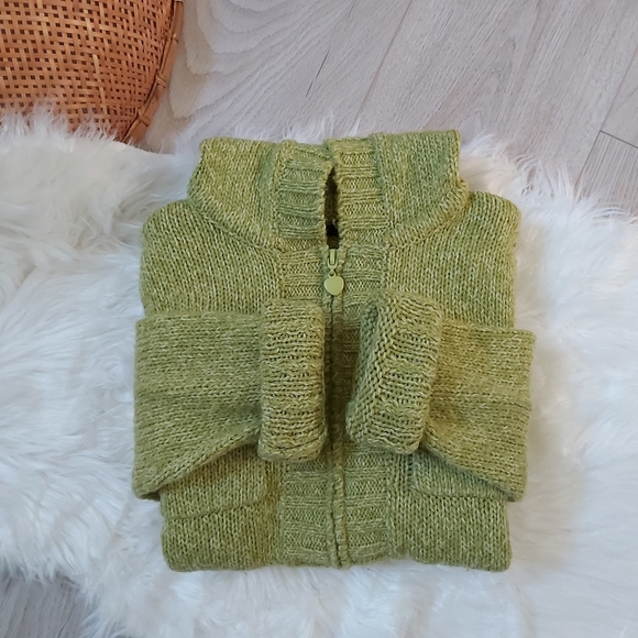 Green hooded knit sweater